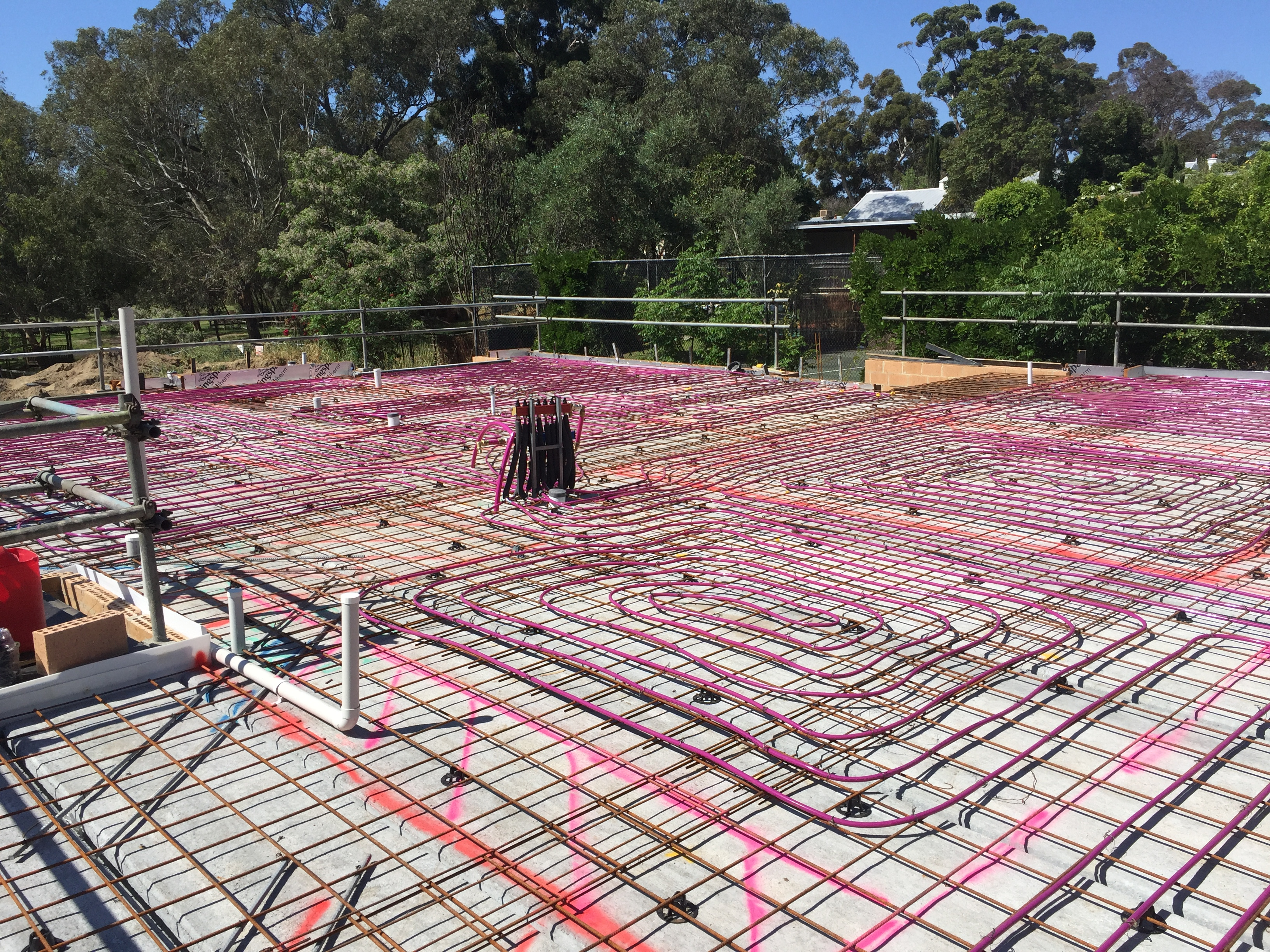 Hydronic floor heating pipework installed